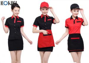 China Red And Black Color Restaurant Shirts Uniforms For Waitresses on sale