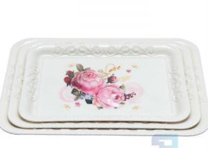 China Eco Friendly Flower Design 12.5 Inch Melamine Plastic Serving Trays on sale