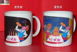 China 12oz solid color Personalized Ceramic Mugs with color changing function for gifts on sale