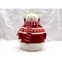 China Home Ceramic Cookie Jar / Christmas Snowman Cookie Jar With Headphone Dolomite Material on sale