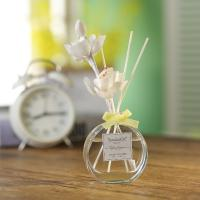 China Transparent Home Reed Diffuser Round Bottle Simple Style With Gift Box on sale