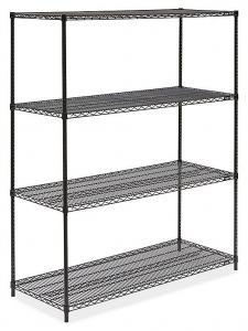 China Black Office Storage Display Rack Freestanding Organizer Metal Shelving 36W X 14D on sale