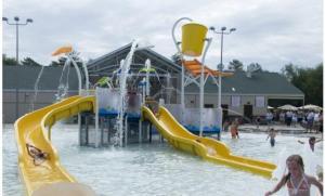 China Kids' Play Water Slide Water Playground Equipment , Outdoor Fiberglass Aqua Playground on sale
