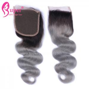 China 4x4 Free Part Closure Virgin Steam Processed Double Drawn Hair Dark Ombre on sale