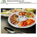 El acero inoxidable dividió la bandeja de la porción de la comida del almuerzo para los niños