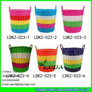 China LDKZ-033 Various candy color storage basket pp tute woven home straw laundry basket on sale