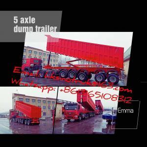 China 45m3 bulk heavy duty tipper trailer , 5 axle dumper trailer with 13R22.5 Tyre, Sinomicc brand semi dump trailer on sale