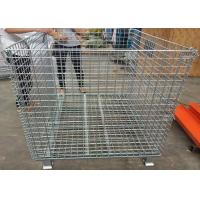 Foldable Galvanized Welded Metal Basket Wire Storage Cage For Warehouse