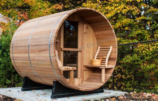Custom circular dry heat sauna cabins for home garden green