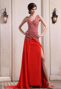 China Sexy V Neck Red A Line Chiffon Floor Length Evening Prom Dresses With Beaded Cheap Online Sale on sale