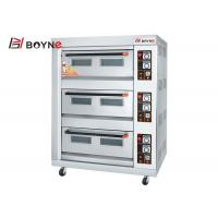 China Commercial Durable Stainless Steel Gas Oven Three Deck Six Trays Bread Oven For Cake Shop on sale