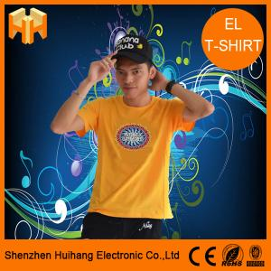 China El sound active t-shirt,el flashing t-shirt,el switch t-shirt,unique flashing t-shirt on sale