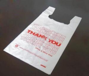 China HDPE/LDPE plastic bag(T-shirt bag,with printing) on sale