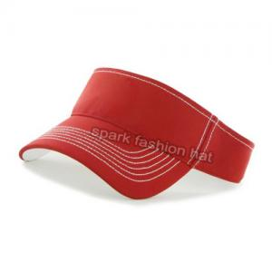 Quality High quality 100% cotton red sun visor cap with velcro closure for sale