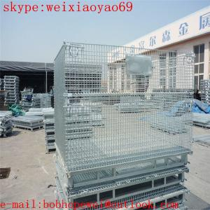 China stackable warehouse roll cages, wire mesh pallet cage on sale