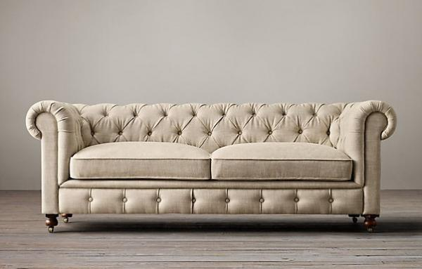 Button Tufted French Living Room Sofa Event Linen Fabric