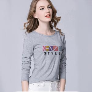 China Slim Version Long Sleeve Graphic Tees Womens , Trendy Graphic Tees O - Neck on sale