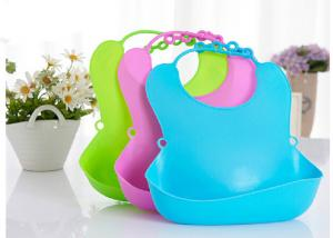 China Unique Promotional Cute Pure Plain Silicone Kids Baby Bib With Plastic Backing on sale