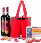 30*12cm Felt Embroidery Christmas Wine Drawstring Bags
