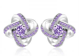 China Unique Clear 925 Sterling Silver Earring Pave CZ Fashion Flower Shaped Purple Stud on sale