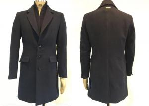 China Navy Ribbed Collar Faux Wool Jacket Melton Coat Button Through Long Winter Man on sale