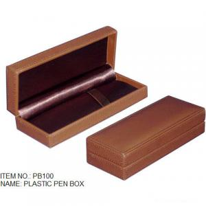 China Plastic Pen Boxes wrapped in leather on sale