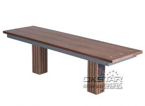 China outdoor fitness equipments WPC materials based wooden bench on sale