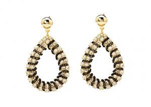 China Hoop Earrings Rhinestone Earrings Bridal Crystal Wholesale Silver Plated Jewelry E5552 on sale