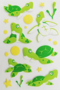 China 3D Dimensional Baby Scrapbook Stickers , Green Turtle Small Animal Stickers on sale