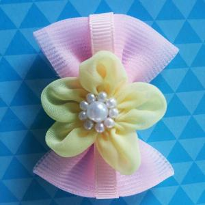 China Pink Toddler Girl Hair Accessories Handmade Customized Size With Bead Ribbon on sale