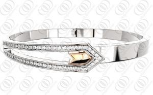 China Fashion Rose Gold Silver Plated Bangle Bracelet  CNC Set Crystals on sale