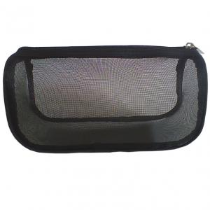 China Mesh Travel Cosmetic Bags Full Black Color With Zipper Closure on sale
