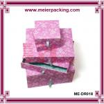 Colorful different size drawer box with ribbon pull ME-DR018