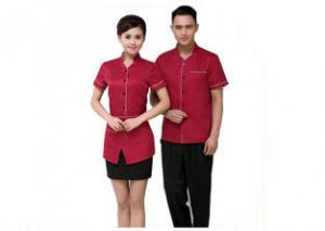 China Custom Color Restaurant Staff Uniform , Side Open Bar Staff Uniforms For Waitress on sale