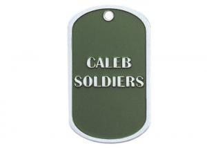 China Caleb Soldiers Personalised Dog Tag Necklaces, Zinc Alloy Custom Military Dog Tags With Nickel Plating on sale
