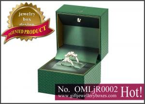 China Custom engagement ring box, music multiple ring box and green fancy paper Musical Jewellery Boxes on sale