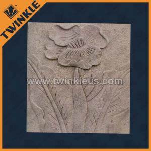China Abstract relief wall with flower carving / stone relief on sale