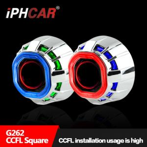 China Hot Selling HID Projector Lens 2.5 inch Square CCFL Angel Eye Universal for car Motorcycle Lens on sale