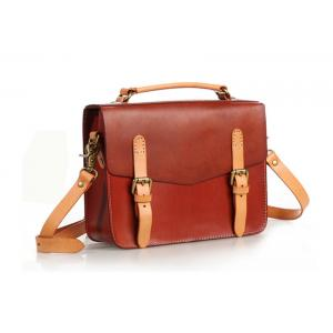 China Brown Vintage Handbags for Lady Leather Briefcase Leather Satchel Bag on sale