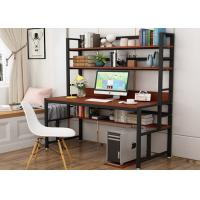 Office desktop laptop computer desk with shelves, Home study writing table with storage shelves