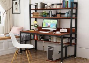 China Office desktop laptop computer desk with shelves, Home study writing table with storage shelves on sale