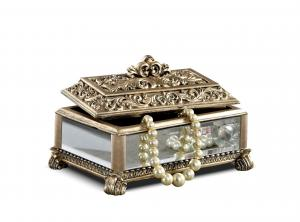 China Baroque Leaves Antique Gold Trinket Box / Beautiful Resin Jewelry Box on sale