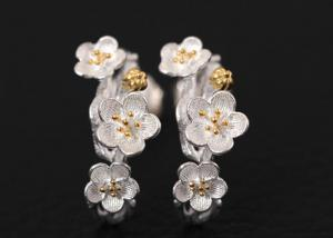 China Fashion 925 Sterling Silver Stud Earrings In Plum Blossom Branch Shape on sale