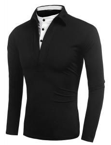 China Fitted Mens Long Sleeve Polo T Shirts , Button Up False 2 Neck Polo Collar T Shirt on sale