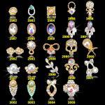 NUEVO número al por mayor caliente ML2982-3005 del proveedor de la etiqueta engomada de los diamantes artificiales del clavo de la joyería del arte del clavo de la joyería 3D de la aleación