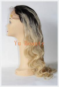 China Virgin brazilian full lace wig Glueless two tone color #1b/613 ombre Blonde front lace wig human hair ombre wigs for bla on sale