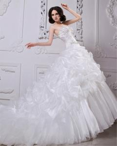 Thick Heart Shaped Strapless Wedding Gowns Winter Ladies Puffy