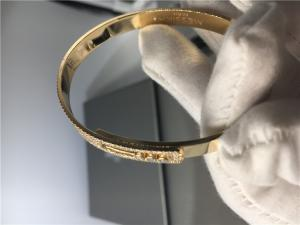 China Custom 3pcs Moving Diamond Bangle Bracelet Yellow Gold With Saddle Shape on sale