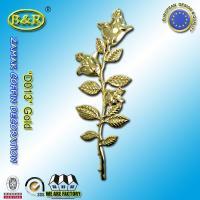 China Zamak Rose Coffin Fitting Decoration Zinc Alloy Flower Size 45cm×13cm Gold / Antique Bronze on sale