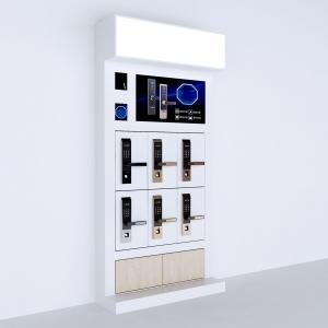 China Mdf Wood Retail Wall Display Shelves 6 Pieces Smart Door Lock Display Stand With LED Lights on sale
